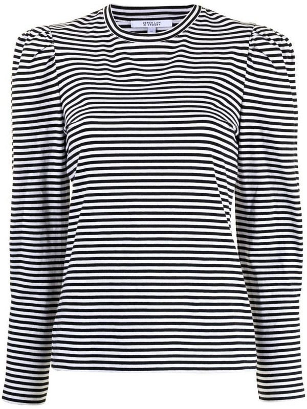 Derek Lam 10 Crosby puff-sleeve striped T-shirt in black