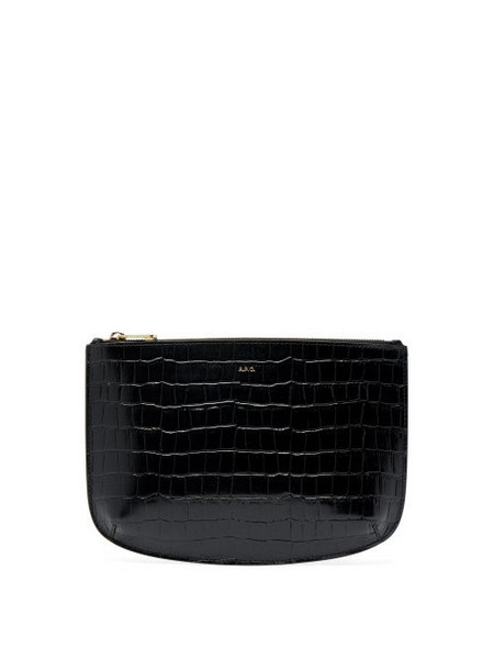 A.P.C. A.p.c. - Sarah Crocodile Effect Leather Pouch - Womens - Black