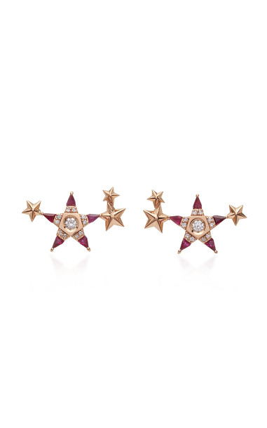 Melis Goral Mars 14K Rose Gold, Ruby And Diamond Earring