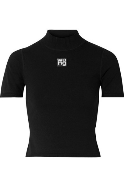 alexanderwang.t - Appliquéd Cropped Stretch-jersey Turtleneck Top - Black