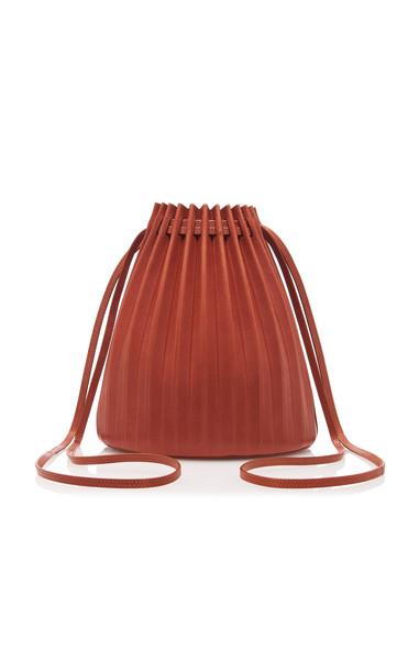 Mansur Gavriel Pleated Brown Leather Bucket Bag