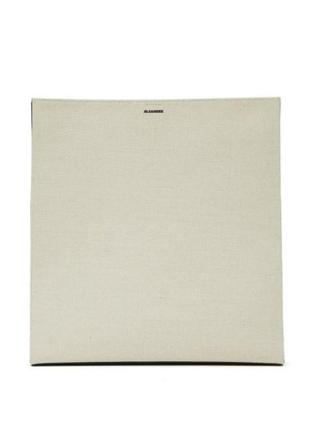 Jil Sander - Tangle Large Canvas Tote Bag - Womens - White Multi