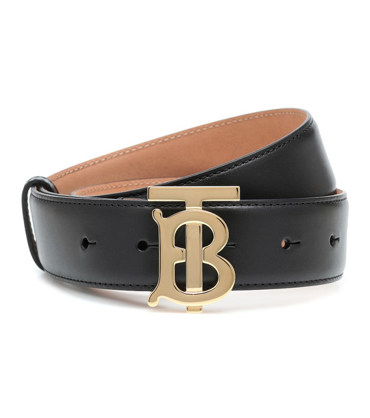 Burberry TB leather belt in black