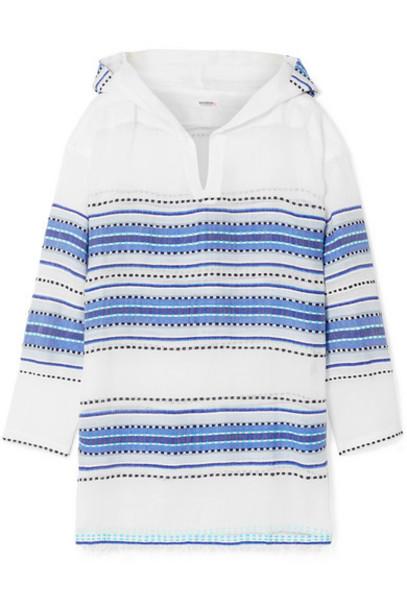 LemLem - Welela Fringed Striped Cotton-blend Gauze Hoodie - Blue