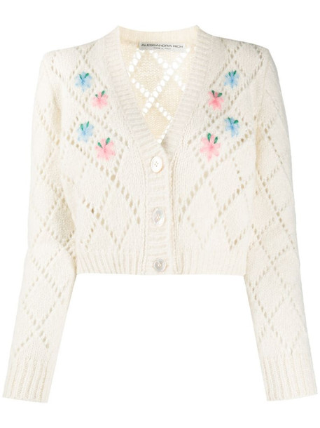 Alessandra Rich embroidered pointelle knit cardigan in white