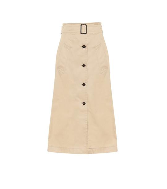 S Max Mara Lisotte cotton midi skirt in beige