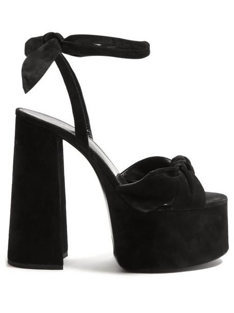 Saint Laurent - Paige Platform Suede Sandals - Womens - Black