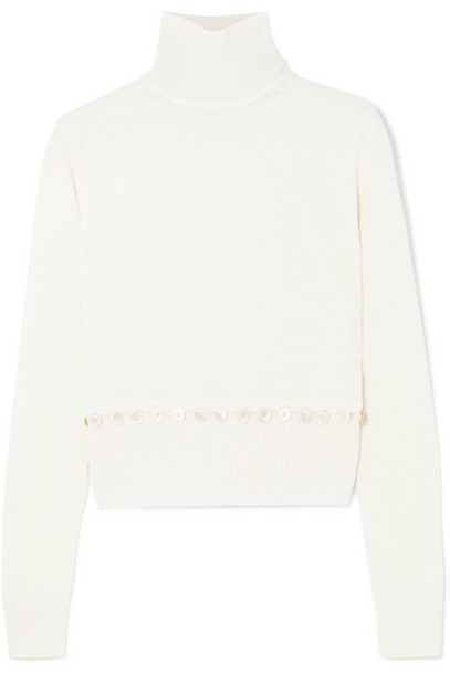 Alexander McQueen - Convertible Button-detailed Wool Turtleneck Sweater - Ivory