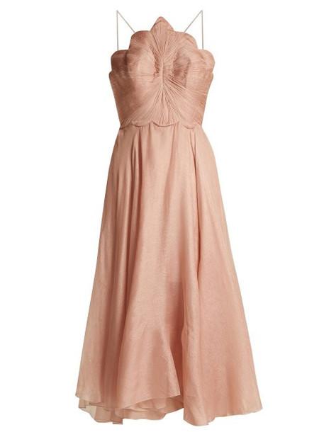 Maria Lucia Hohan - Daisy Scallop Edged Silk Mousseline Dress - Womens - Light Pink