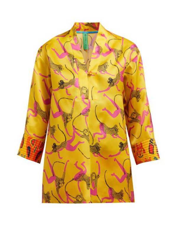 Rianna + Nina Rianna + Nina - Marta Monkey Print Silk Organza Blouse - Womens - Yellow Multi