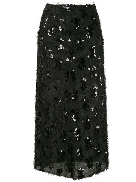 Macgraw embroidered midi skirt in black