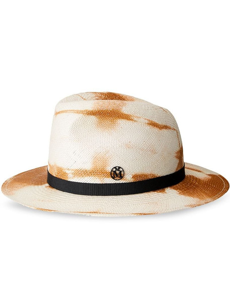 Maison Michel Bettina tie-dye fedora straw hat in white