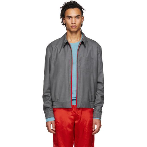 Kenzo Grey Wool Blouson Jacket