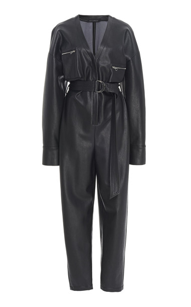 Sally LaPointe Belted Faux Leather Tapered Jumpsuit in black