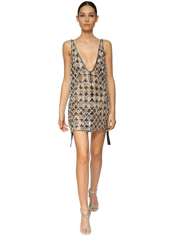 AZZARO Crystal Embellished Mesh Mini Dress