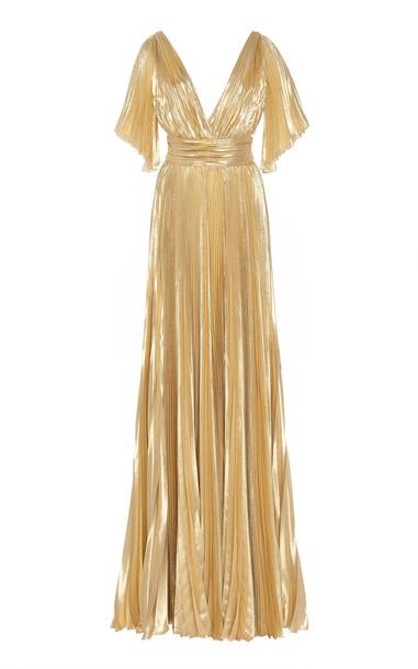 Zuhair Murad Azdorado Plissé Lurex Gown Size: 34 in gold