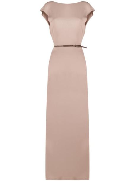 Fabiana Filippi V-back sleeveless maxi dress in neutrals