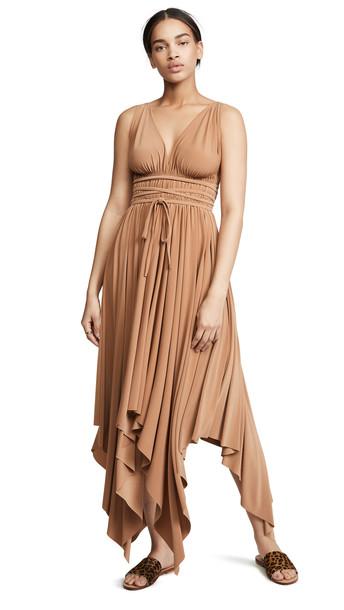 Norma Kamali Goddess Dress in tan