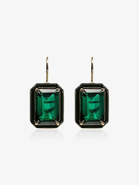 Alison Lou 14kt gold emerald earrings