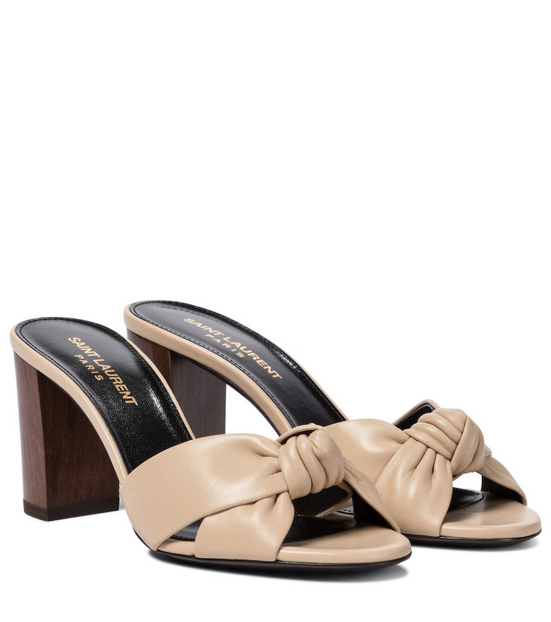 Saint Laurent Bianca 75 leather sandals in beige