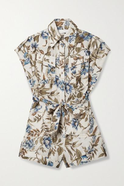 ZIMMERMANN - Aliane Belted Floral-print Linen Playsuit - Green