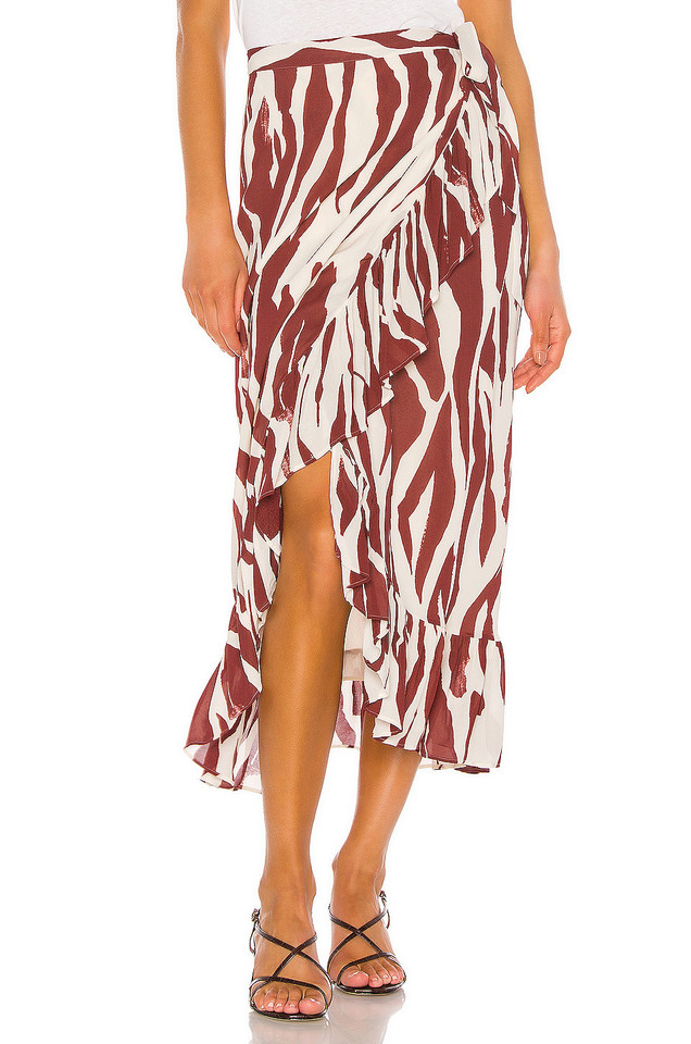 ANINE BING Lucky Wrap Skirt in red