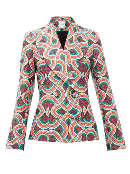 Halpern - Double Breasted Marble Print Satin Faille Jacket - Womens - Red Multi