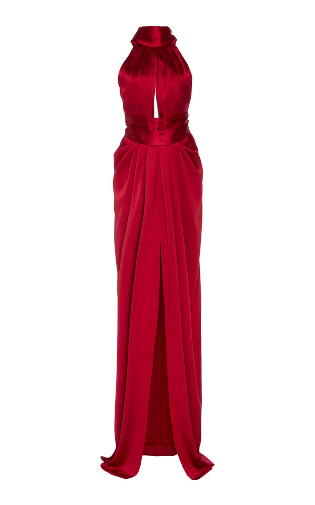 Naeem Khan Draped Silk-Satin Halterneck Gown Size: 2 in red