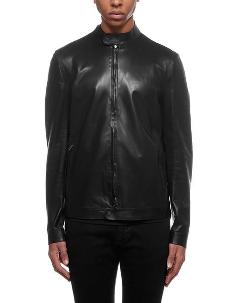 Salvatore Santoro Zipped Leather Jacket in nero