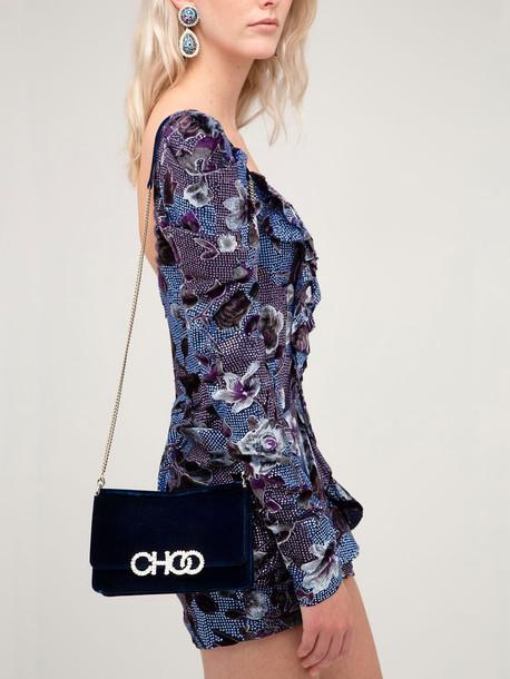 JIMMY CHOO Sidney Embellished Velvet Shoulder Bag in blue