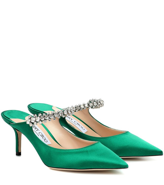 Jimmy Choo Exclusive to Mytheresa – Bing 65 satin mules in green