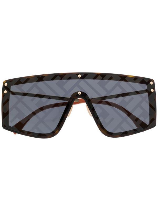 Fendi Eyewear monogram print sunglasses in brown