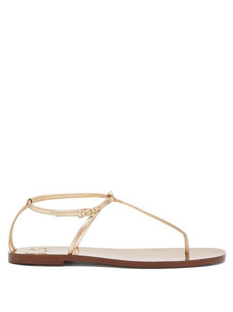 Valentino - Rockstud Slim Strap Leather Sandals - Womens - Gold