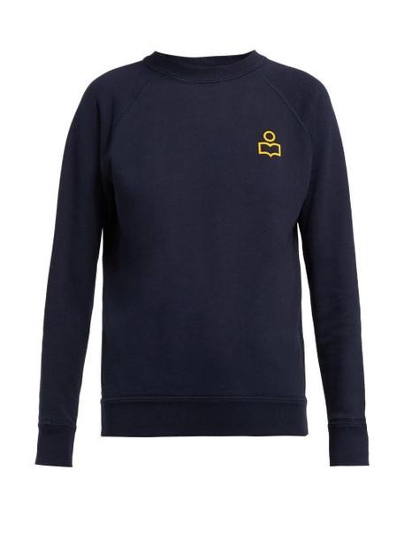 Isabel Marant Étoile - Milly Logo Print Cotton Blend Sweatshirt - Womens - Navy