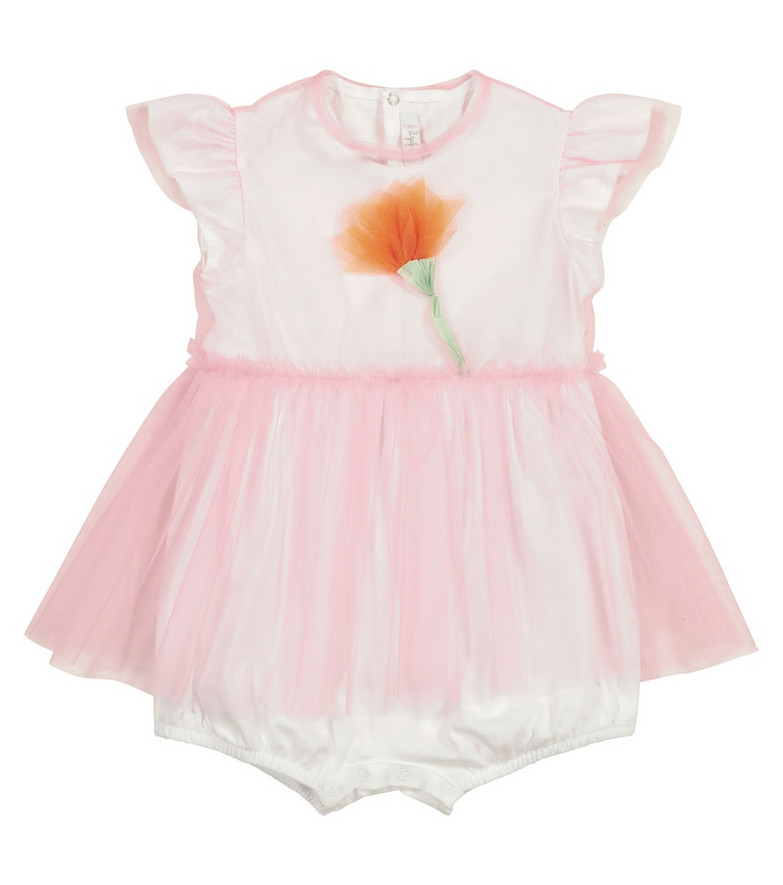 Il Gufo Baby tulle and cotton playsuit in pink