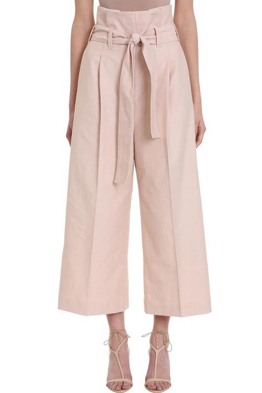 Stella McCartney Wide Leg Cropped Trousers in pink