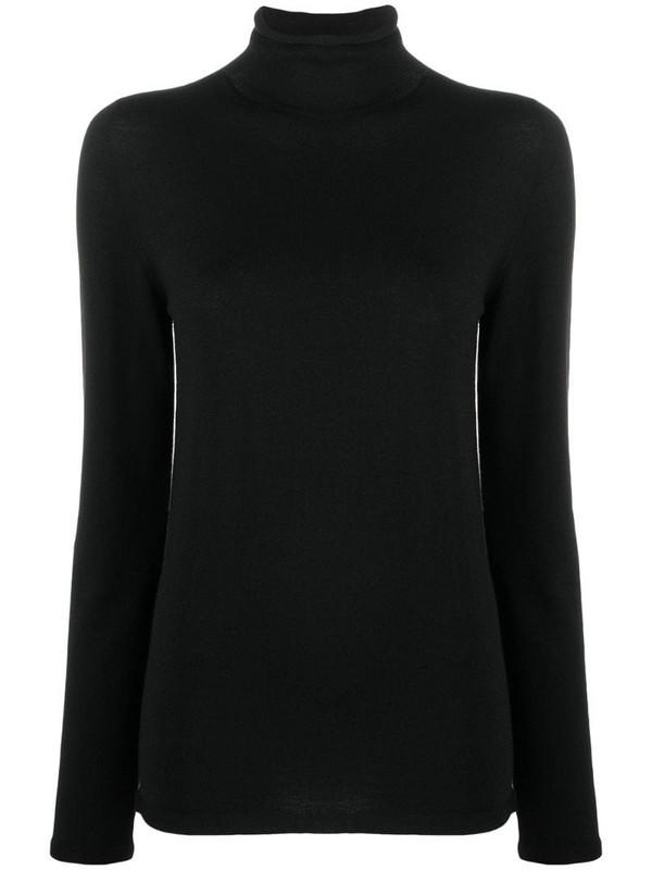 Zanone mock-neck knitted top in black