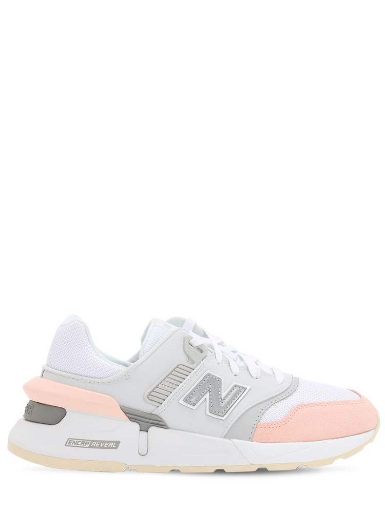 NEW BALANCE 997s Suede & Mesh Sneakers in pink / white