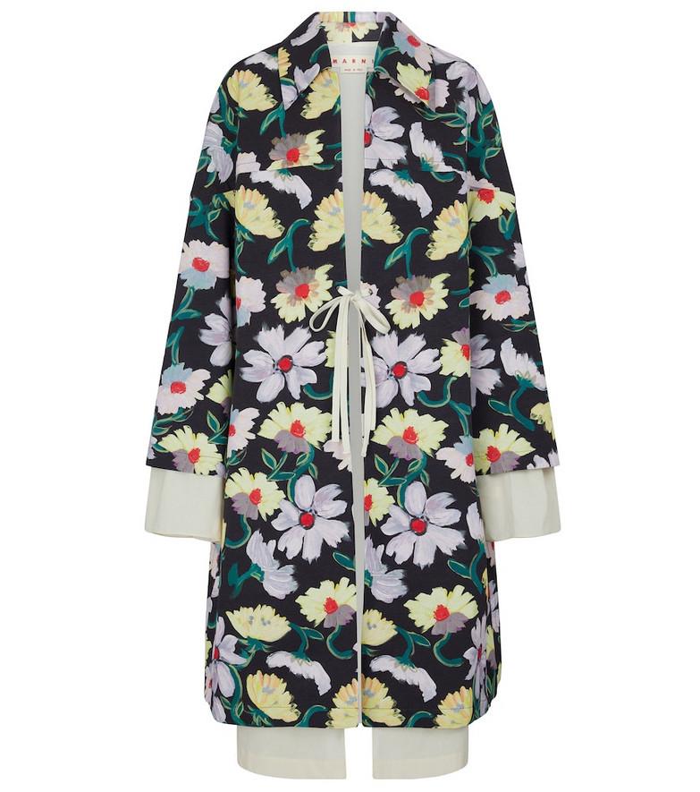 Marni Floral taffeta  coat in black
