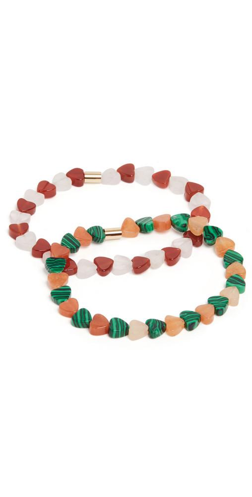 Loeffler Randall Heart Stone Bracelet in green / ivory / pink / red