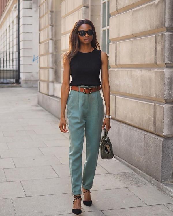 pants high waisted pants pumps black top handbag
