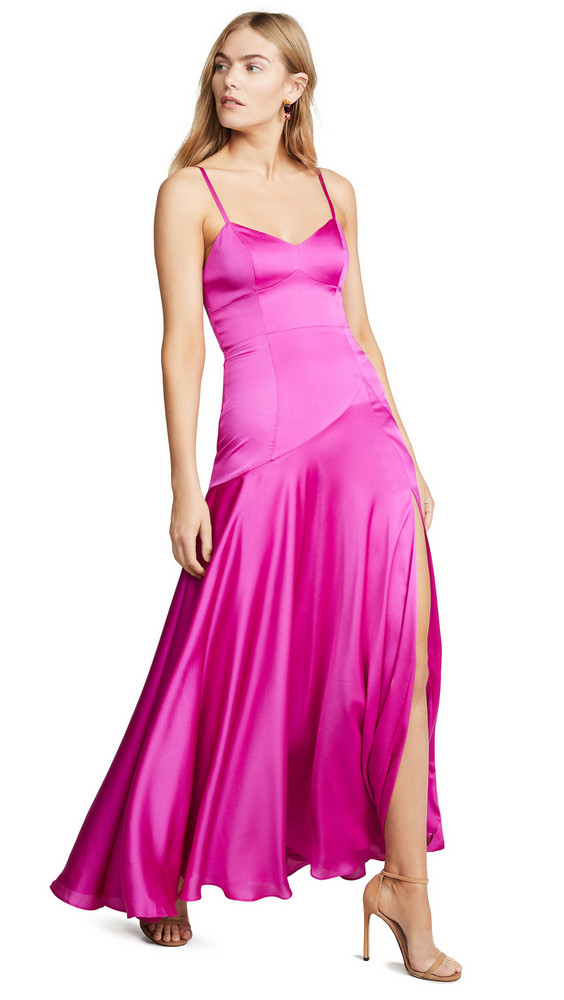 Fame and Partners V Neck Open Back Gown in magenta