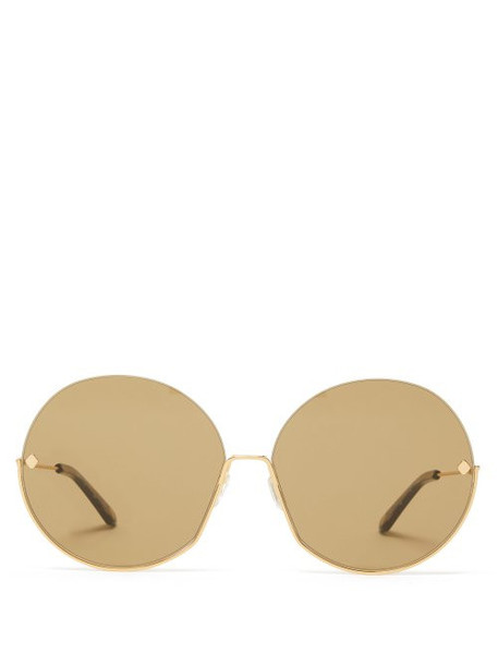 Moy Atelier - Sense Of Sonder Round Gold Plated Sunglasses - Womens - Green