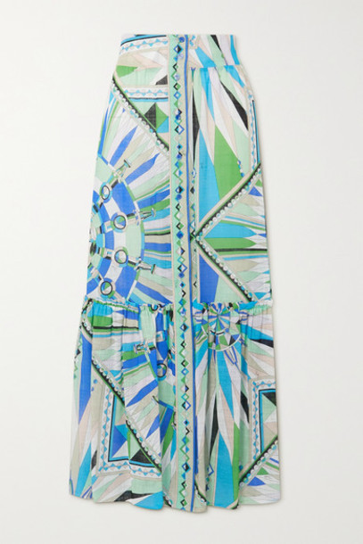 Emilio Pucci - Tiered Printed Cotton-voile Maxi Skirt - Green