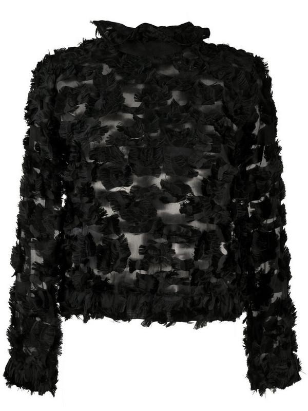 Giorgio Armani semi-sheer textured top in black