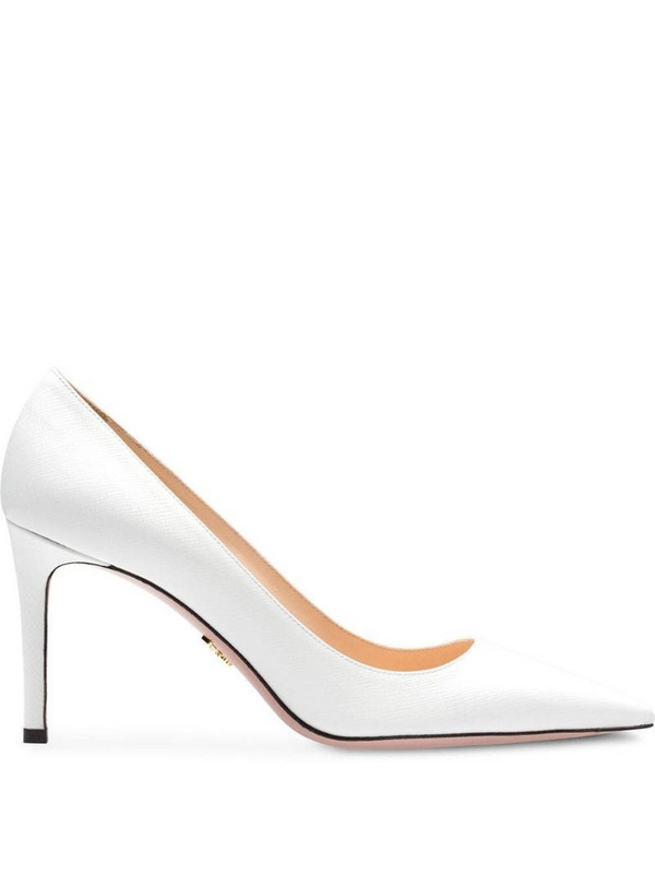 Prada Saffiano textured patent leather pumps in white