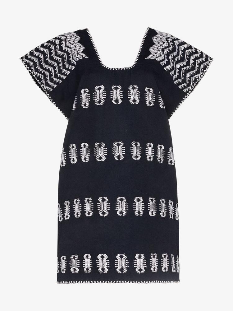 Pippa Holt embroidered single panel cotton kaftan mini dress in blue