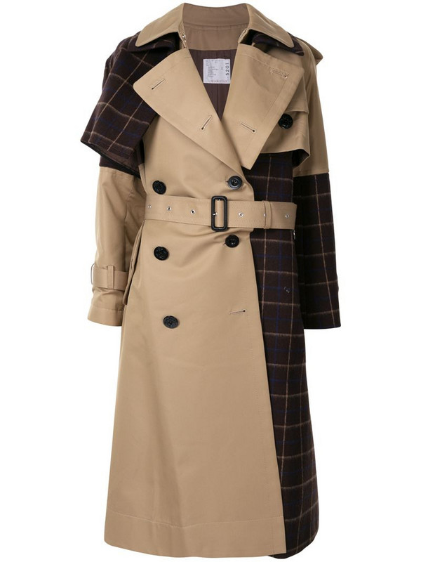 Sacai plaid panel trench coat in brown
