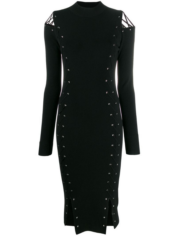 McQ Swallow knitted eyelet fitted dress in black