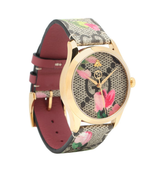 Gucci G-Timeless GG Bloom leather watch in beige